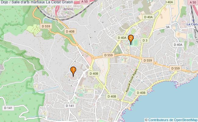plan Dojo / Salle d'arts martiaux La Ciotat : 2 équipements