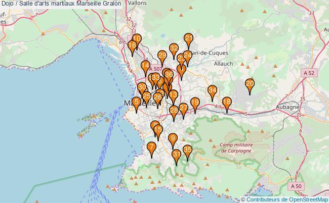 plan Dojo / Salle d'arts martiaux Marseille : 36 équipements