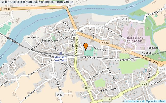 plan Dojo / Salle d'arts martiaux Marssac-sur-Tarn : 1 équipements