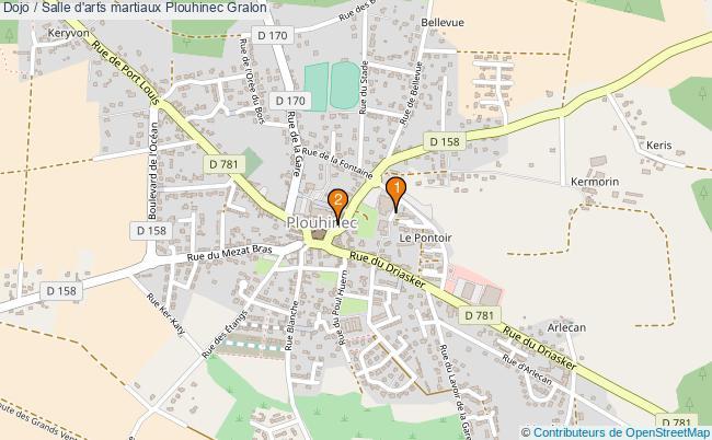 plan Dojo / Salle d'arts martiaux Plouhinec : 2 équipements