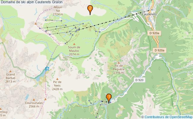 plan Domaine de ski alpin Cauterets : 2 équipements