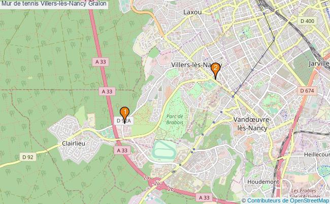 plan Mur de tennis Villers-lès-Nancy : 2 équipements