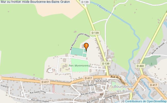 plan Mur ou fronton mixte Bourbonne-les-Bains : 1 équipements