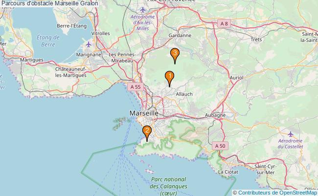 plan Parcours d'obstacle Marseille : 3 équipements