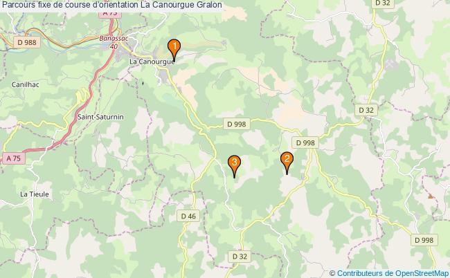 plan Parcours fixe de course d'orientation La Canourgue : 3 équipements