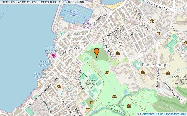 plan Parcours fixe de course d'orientation Marseille : 1 équipements