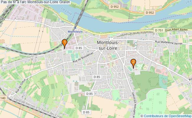 plan Pas de tir à l'arc Montlouis-sur-Loire : 2 équipements