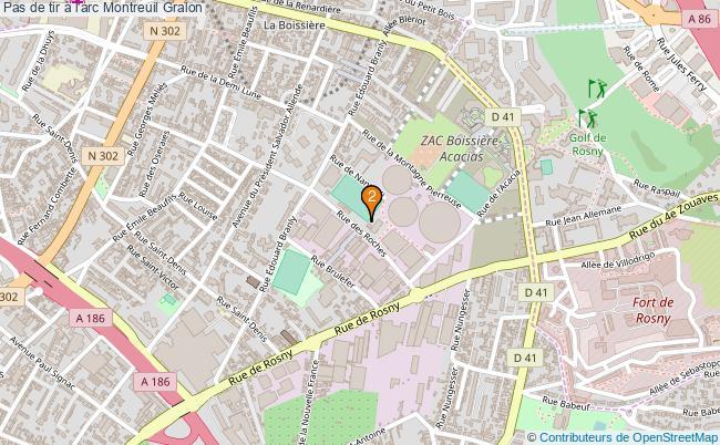 plan Pas de tir à l'arc Montreuil : 2 équipements