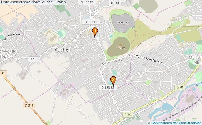 plan Piste d'athlétisme isolée Auchel : 2 équipements