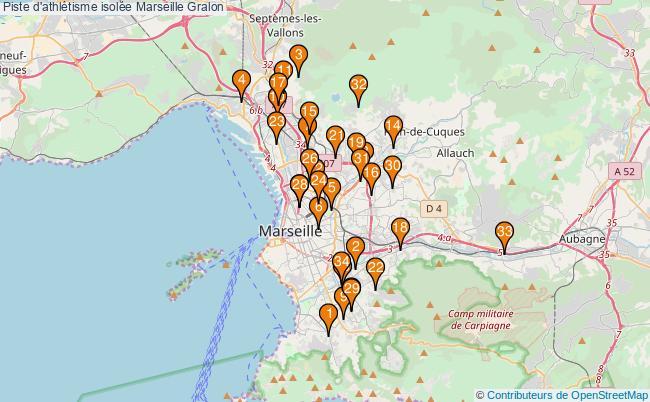 plan Piste d'athlétisme isolée Marseille : 34 équipements