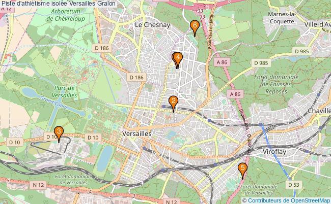 plan Piste d'athlétisme isolée Versailles : 6 équipements