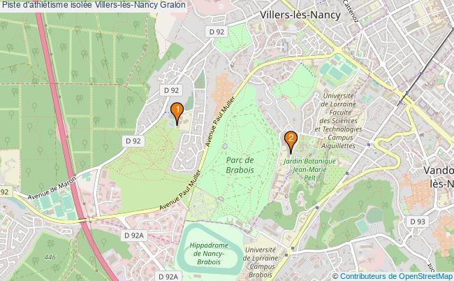 plan Piste d'athlétisme isolée Villers-lès-Nancy : 2 équipements