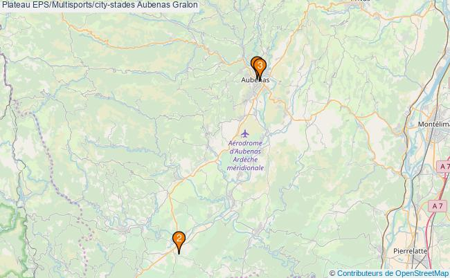 plan Plateau EPS/Multisports/city-stades Aubenas : 3 équipements