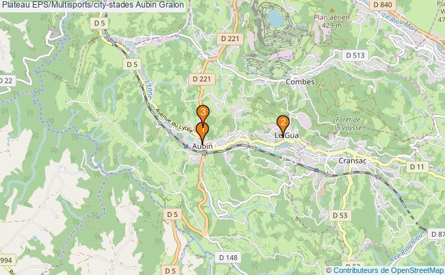 plan Plateau EPS/Multisports/city-stades Aubin : 3 équipements