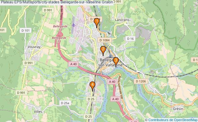 plan Plateau EPS/Multisports/city-stades Bellegarde-sur-Valserine : 4 équipements