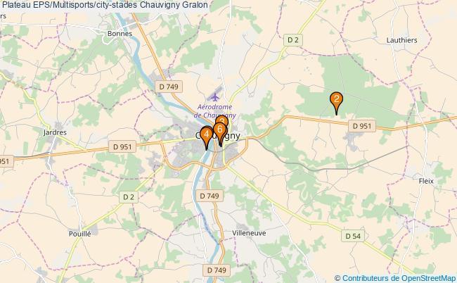 plan Plateau EPS/Multisports/city-stades Chauvigny : 6 équipements