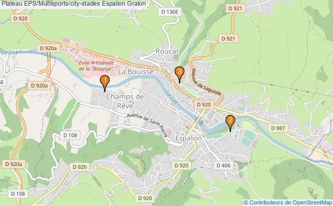 plan Plateau EPS/Multisports/city-stades Espalion : 3 équipements