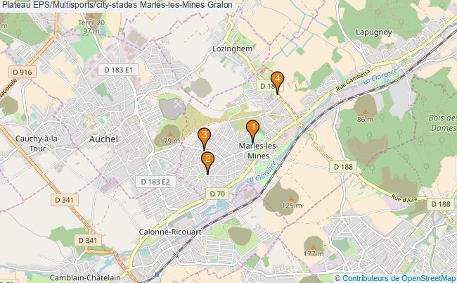 plan Plateau EPS/Multisports/city-stades Marles-les-Mines : 4 équipements