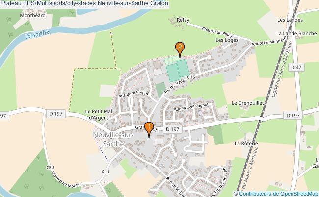 plan Plateau EPS/Multisports/city-stades Neuville-sur-Sarthe : 2 équipements