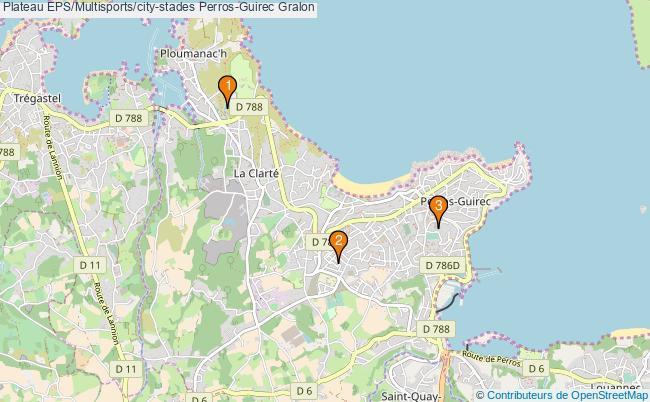 plan Plateau EPS/Multisports/city-stades Perros-Guirec : 3 équipements