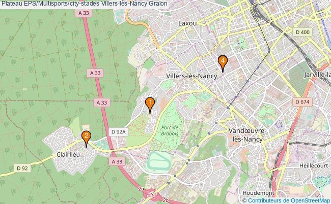 plan Plateau EPS/Multisports/city-stades Villers-lès-Nancy : 4 équipements