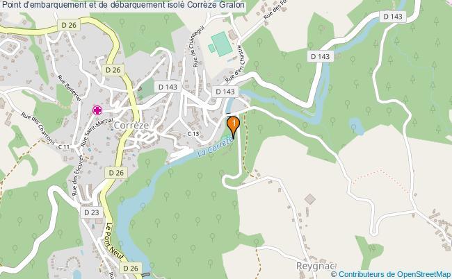 plan Point d'embarquement et de débarquement isolé Corrèze : 1 équipements
