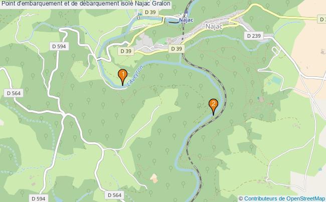 plan Point d'embarquement et de débarquement isolé Najac : 2 équipements