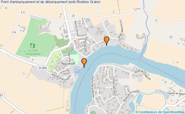 plan Point d'embarquement et de débarquement isolé Rivières : 2 équipements