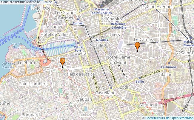 plan Salle d'escrime Marseille : 2 équipements