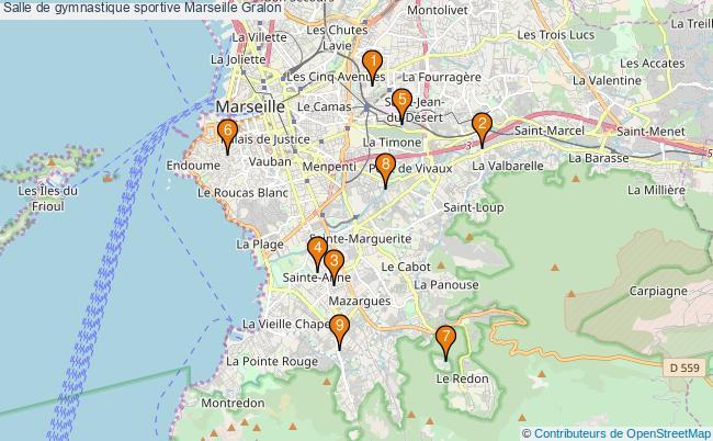 plan Salle de gymnastique sportive Marseille : 9 équipements