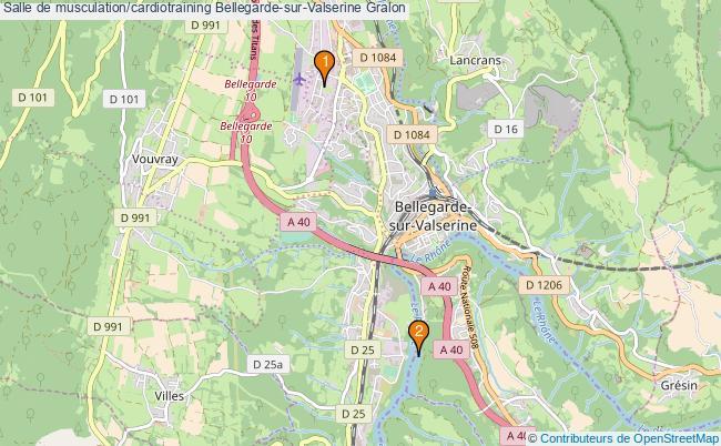 plan Salle de musculation/cardiotraining Bellegarde-sur-Valserine : 2 équipements