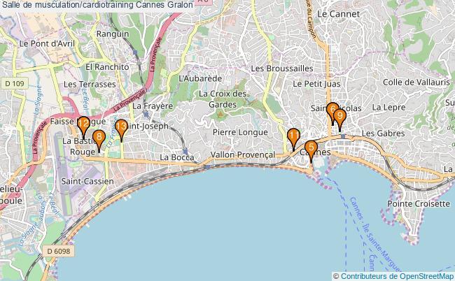 plan Salle de musculation/cardiotraining Cannes : 13 équipements