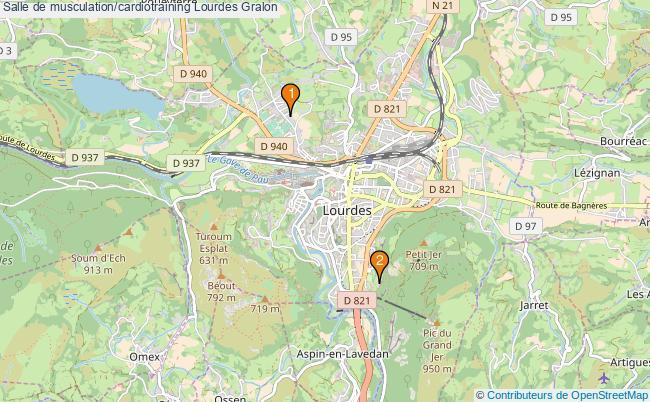 plan Salle de musculation/cardiotraining Lourdes : 2 équipements