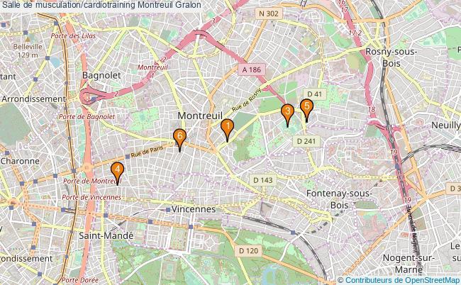 plan Salle de musculation/cardiotraining Montreuil : 6 équipements