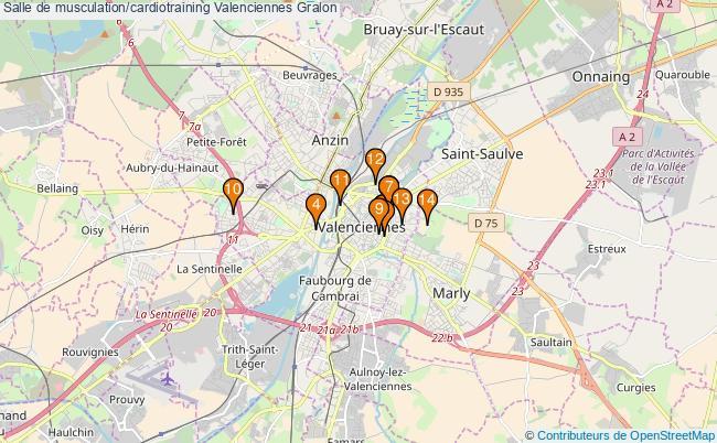 plan Salle de musculation/cardiotraining Valenciennes : 14 équipements