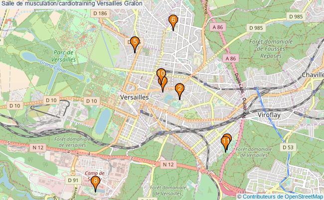 plan Salle de musculation/cardiotraining Versailles : 11 équipements