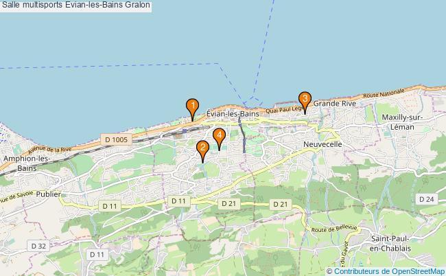 plan Salle multisports Evian-les-Bains : 4 équipements