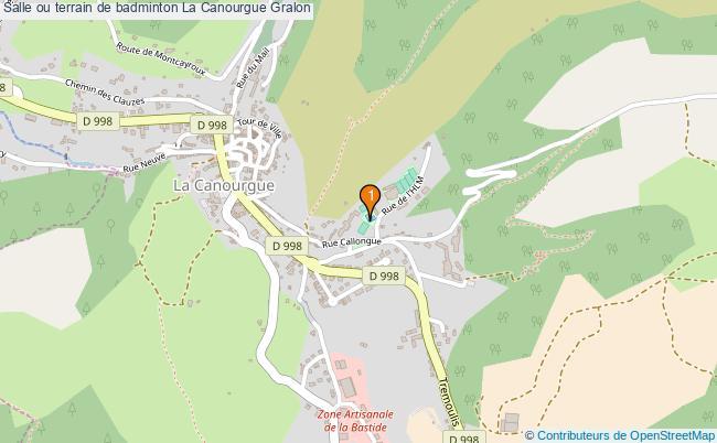 plan Salle ou terrain de badminton La Canourgue : 1 équipements
