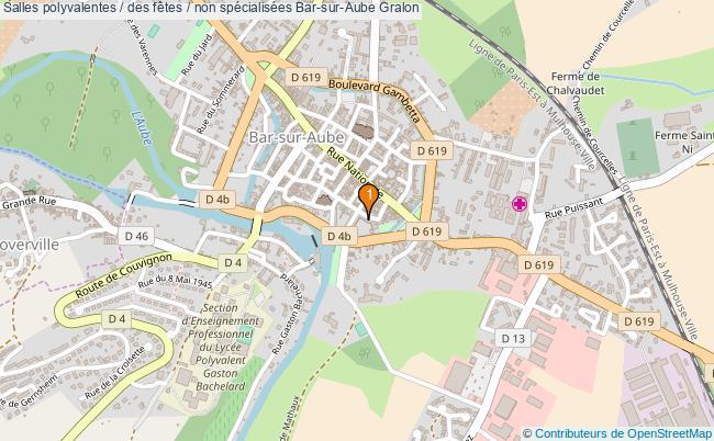 plan Salles polyvalentes / des fêtes / non spécialisées Bar-sur-Aube : 1 équipements