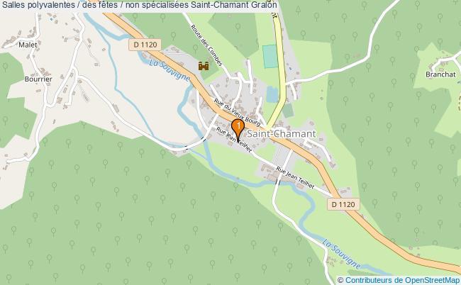 plan Salles polyvalentes / des fêtes / non spécialisées Saint-Chamant : 1 équipements