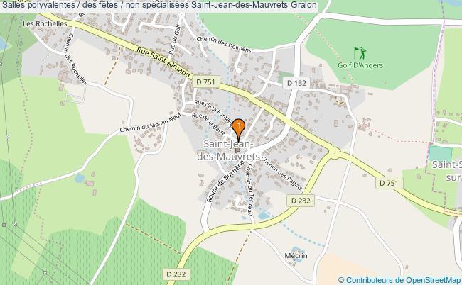 plan Salles polyvalentes / des fêtes / non spécialisées Saint-Jean-des-Mauvrets : 1 équipements