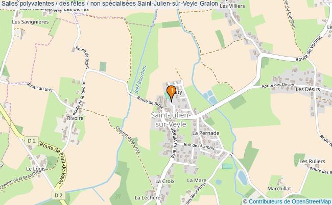 plan Salles polyvalentes / des fêtes / non spécialisées Saint-Julien-sur-Veyle : 1 équipements