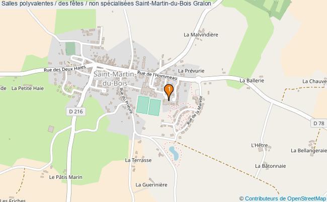 plan Salles polyvalentes / des fêtes / non spécialisées Saint-Martin-du-Bois : 1 équipements