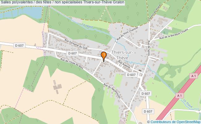 plan Salles polyvalentes / des fêtes / non spécialisées Thiers-sur-Thève : 1 équipements
