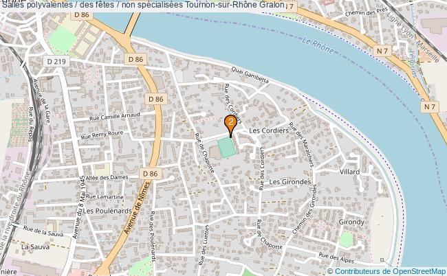 plan Salles polyvalentes / des fêtes / non spécialisées Tournon-sur-Rhône : 2 équipements