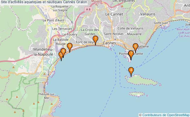 plan Site d'activités aquatiques et nautiques Cannes : 9 équipements