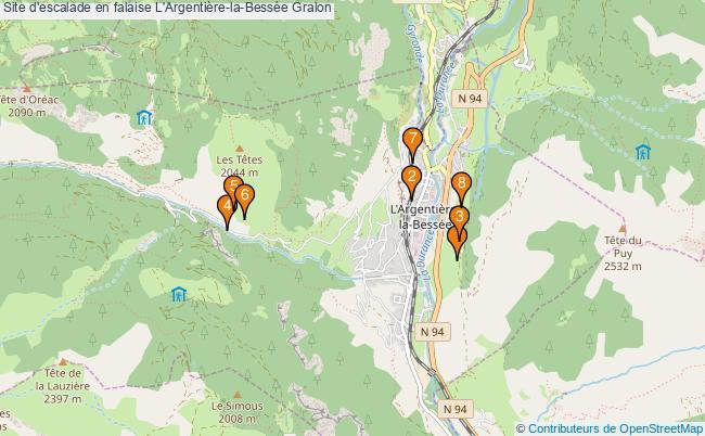 plan Site d'escalade en falaise L'Argentière-la-Bessée : 8 équipements