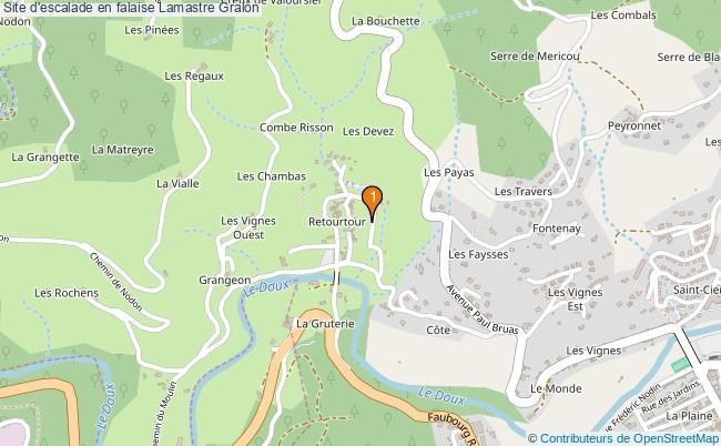 plan Site d'escalade en falaise Lamastre : 1 équipements