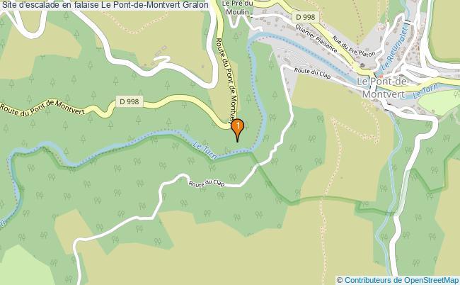 plan Site d'escalade en falaise Le Pont-de-Montvert : 1 équipements