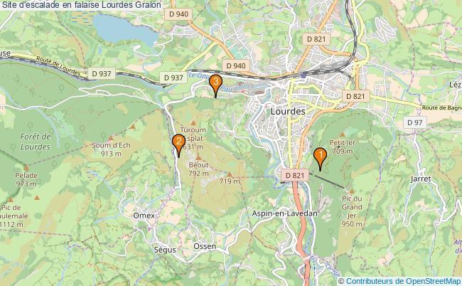 plan Site d'escalade en falaise Lourdes : 3 équipements
